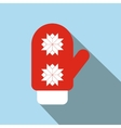 Red santa mitten flat icon vector image