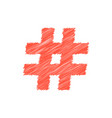 Red scribble hashtag icon