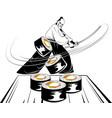 samurai slicing rolls vector image