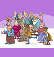 senior characters group cartoon vector image