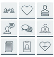 set of 9 communication icons includes chatting vector image vector image