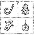 set of cut out cards with xmas symboils hand vector image vector image