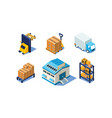 set of isometric warehouse and logistics vector image vector image