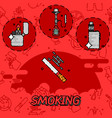 smoking flat concept icons vector image vector image