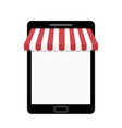 tablet with striped awning template for web shop vector image vector image
