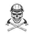 vintage builder skull with crossed hammers vector image