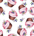 Watercolor Seamless pattern blueberries cupcakes vector image