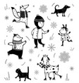 winter skiing vintage cartoon set black and white vector image vector image