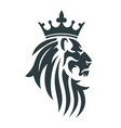 the head of a lion with a royal crown vector image