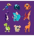 Africa Animals and Dinosaurs with Emotions vector image