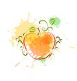 apple in watercolor fruit icon paint splash vector image