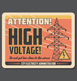 attention retro banner for high voltage precaution vector image