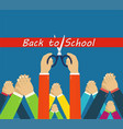 back to school grand opening hands cutting red vector image