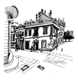black and white hand drawing of Cetinje street - vector image