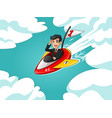 businessman in black suit riding a rocket vector image