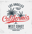 california los angeles typography t-shirt vector image vector image