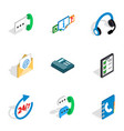 call center icons isometric 3d style vector image vector image