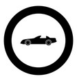 car black icon in circle isolated vector image