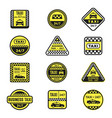 checkered taxi signs flat icons set vector image vector image