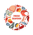 circle shape from seafoods round design form vector image