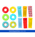 collection of pool rafts and rubber rings vector image vector image