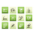 communication computer and mobile phone icons vector image