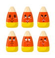 corn candy emotions sweets evil and good bonbon vector image vector image