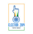 election 2019 label with voting hand vector image vector image