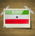 Flags South Africaat frame on a brick background vector image