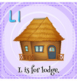 Flashcard of L is for lodge vector image vector image