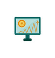 flat desktop monitor bitcoin graph vector image