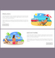 freelance and distant work set vector image