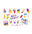 friends at a birthday party set happy birthday vector image