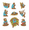 funny sloths set lazy exotic rainforest animal vector image