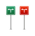 green and red highway sign with arrows board vector image vector image