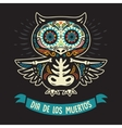 Greeting card with owl skeletons and floral vector image vector image