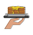 hand holding pancakes on platter icon image vector image vector image