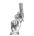 hand holding revolver for fired to starting vector image vector image