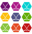 hockey stick icons set 9 vector image vector image