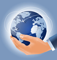 holding earth in a hand vector image vector image