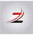 initial z letter logo with swoosh colored red and vector image vector image