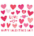 isolated red hearts set for valentines day vector image