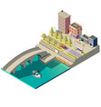 isometric map of town with buildings vector image