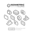 isometric outline icons set 12 vector image vector image
