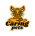 logo on the subject of caring for pets kitten vector image vector image