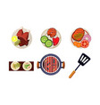 meat and fish dishes cooked on the grill tasty vector image vector image