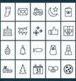 new icons set with calendar night snowman and vector image vector image