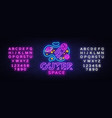 outer space neon sign space design vector image