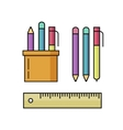Pen and pencils ruler set vector image