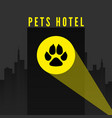 pets hotel trail dogs paw in spotlight on city vector image vector image